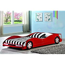 Donco Kids 4004-R Youth Race Car Bed, Red