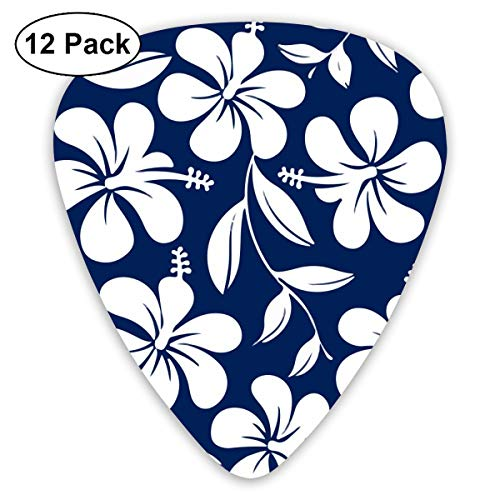 - Hawaiian Flower Hibiscus Aloha 351 Shape Classic Celluloid Guitar Pick For Electric Acoustic Mandolin Bass (12 Count)