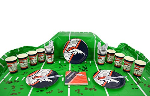 Duck House Official National Football Fan Shop Authentic NFL Tailgate Party Kit Bundle for 20 Fans - Table Setting and More (Denver Broncos)