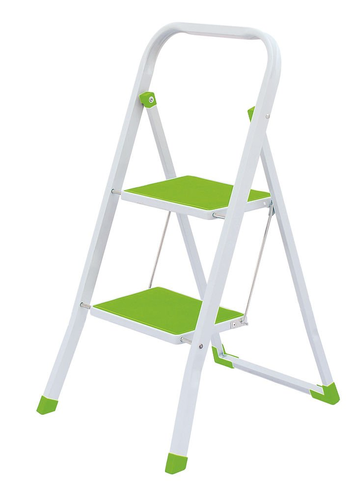 2 Steps Folding Lightweight Ladder, Stool for Home & Office Use Green & White