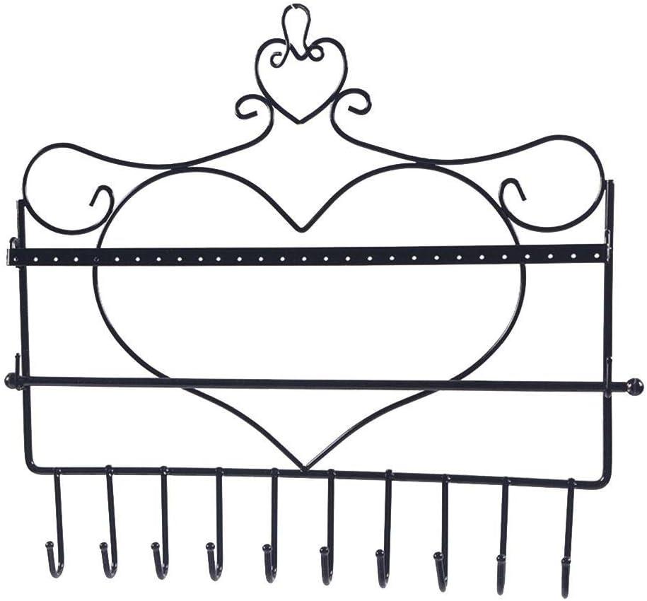 Cadre M/étallique Noir en Forme de Coeur Montage Mural pour Boucles d/'Oreilles Pr/ésentoir de Bijoux SUPERLOVE Porte-Bijoux Colliers et Barre Amovible pour Bracelets