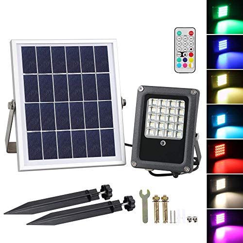 Solar LED Flood Lights, T-SUNRISE 10W Color Changing RGB Security Floodlight with Remote Control, 20 LEDs Outdoor Solar Spotlight, IP65 Waterproof Garden Landscape Lighting for Patio Yard Park