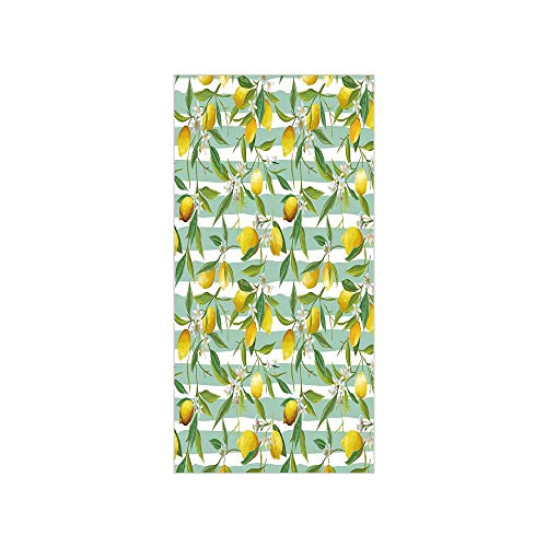 3D Decorative Film Privacy Window Film No Glue,Nature,Blooming Lemon Tree on Striped Paintbrush Background Evergreen Art,Fern Green Seafoam Yellow,for Home&Office