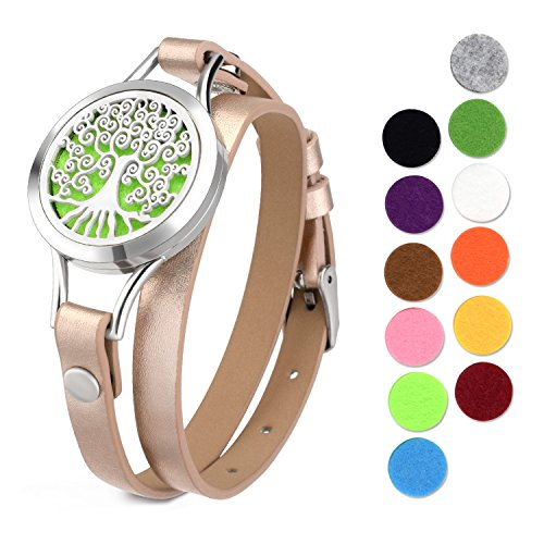 abooxiu Aromatherapy Essential Oil Diffuser Locket Bracelet with Leather Band,with 12 Washable Color Pads (Tree)