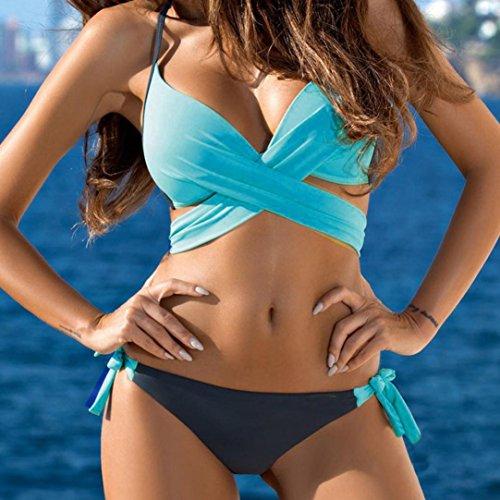 Sexy ❤️ Due ragazza Beachwear Costumi beautyjourney Donna Cielo Spiaggia Intero Costumi da Sexy Costume up Donna Mare Sexy Bikini Push Brasiliana Pezzi Blu Intero Bagno Benda 8EOqwd