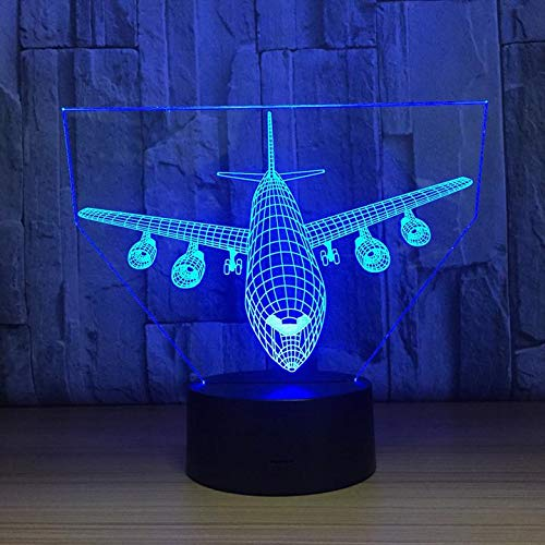 3D Night Light Airplane Air Force LED Lamp with Remote Control - Shifts Through 7 Colors