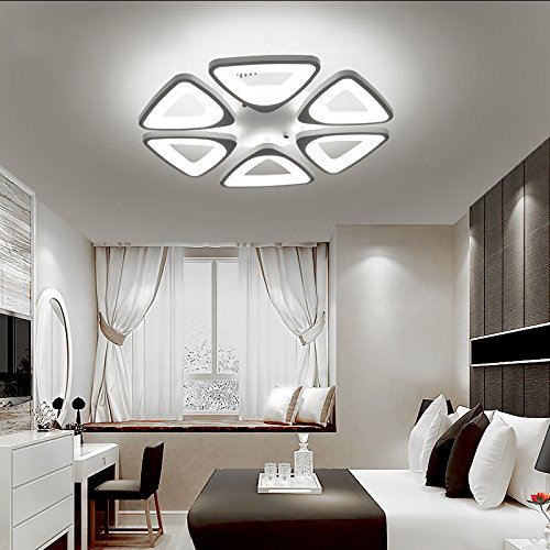 LED Ceiling Lighting Fixture- Flush Mount Contemporary Chandelier Light Fixture for Dining Room, Living Room, Bedroom and Kitchen: by Velette (Cool, 6 Heads)