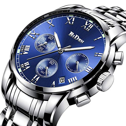 Watch,Mens Watches,Mens Fashion Stainless Steel Casual Waterproof Chronograph Quartz Wrist Watch from A ALPS