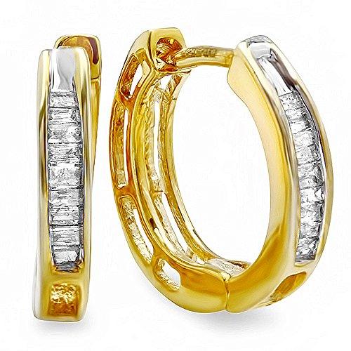 0.15 Carat (ctw) 18k Yellow Gold Plated Sterling Silver Ladies Baguette Diamond Huggies Hoop (0.15 Ct Baguette Diamond)