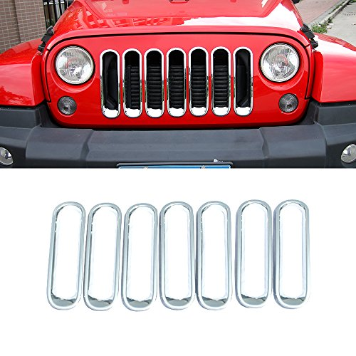 RT-TCZ Front Grill Mesh Grille Insert Frame Trims cover For Jeep Wrangler JK&Rubicon Sahara & Unlimited 2007 - 2017[7PCS]