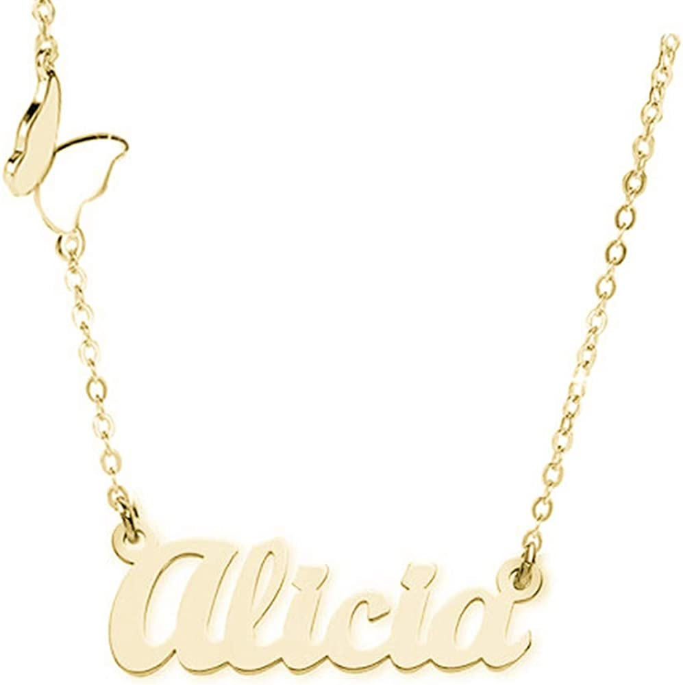 Elefezar Personalized 925 Sterling Silver Elegant Butterfly Name Necklace Custom Any Names for Women