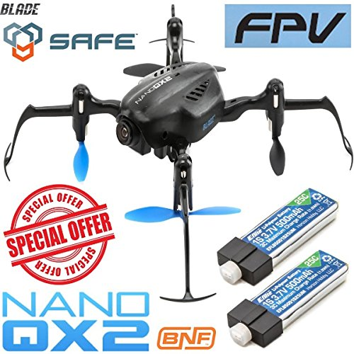Blade BLH9180 Nano QX2 FPV BNF Mini Quadcopter w/ 2X Lipo Battery / Camera Drone