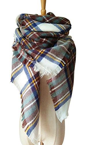 MOTINE Tartan Blanket Scarf Stylish Winter Warm Pashmina Wrap Shawl for Women (White Blue)