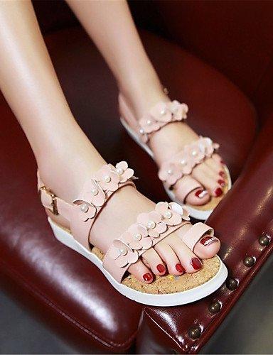 Noche Casual de Plano Sandalias y Negro Azul Pink Blanco Tacón Comfort Fiesta Vestido Rosa LFNLYX Zapatos mujer Semicuero Pqw88g