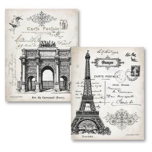 - Gango Home Decor Beautiful Vintage Paris France Landmarks, Arc de Triomphe du Carrousel and Eiffel Tower; Two 11 x 14 Prints