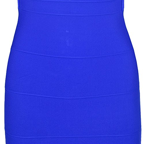HLBandage Women's Sexy Spaghetti Strap Backless Bodycon Bandage Dress Azul