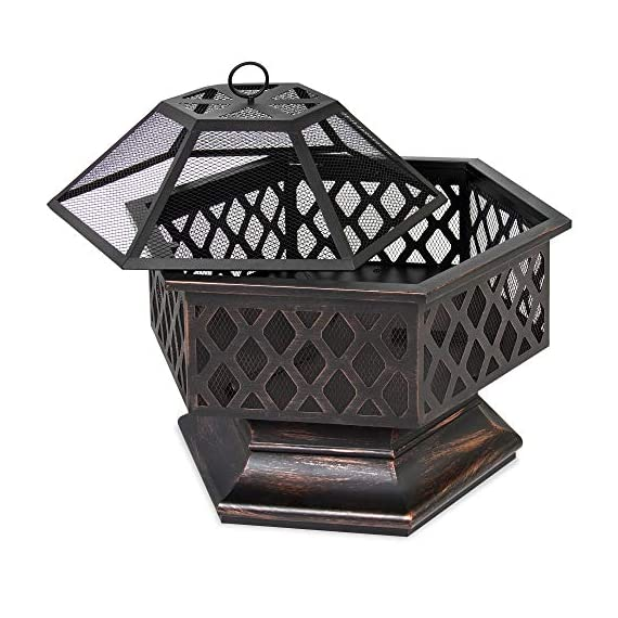 Best Choice Products 24in Hex-Shaped Steel Fire Pit for Garden, Backyard, Poolside w/Flame-Retardant Mesh Lid - RUSTIC DECORATION: Hexagonal steel fire pit sports a distressed bronze finish and combines a tight steel mesh with decorative lattice for a unique addition to your outdoor decor WOOD FIRE PIT: Steel risers at the base of the pit elevate the logs and promote airflow as you build a natural wood fire VERSATILE: A simple, but effective way to bring comfortable warmth to your patio, landing, porch, or poolside. (NOTE: Avoid using this fire pit on or near any wooden structures) - patio, outdoor-decor, fire-pits-outdoor-fireplaces - 51Q2WItYdcL. SS570  -