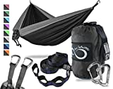 Live Infinitely Double Outdoor Camping Hammock Set- Lightweight, Compact & Portable Two Person Parachute Nylon Hammock Set- 2-16 Loop Tree Straps – Holds 500LBS-Ideal for Travel, Hiking & Beach