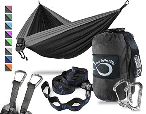 - Double Camping Hammock- Best Lightweight & Portable Two Person Hammock Set -Aluminum Wiregate Carabiners, 2- 16 Loop Tree Straps & Compression Strap- Holds 500 LBS -Ideal for Travel Black Middle