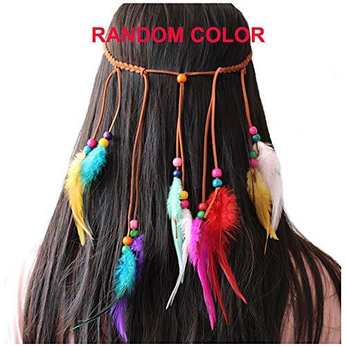 Feather Headband Hippie Indian Boho Hair Bands Tassel Bohemian Halloween Hair Hoop Women Girls Crown Hairband Party Decoration Headdress Cosplay Costume Headwear Headpiece Hair Accessories Colorful