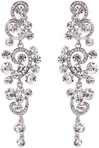 BriLove Women's Bohemian Boho Wedding Bridal Crystal Floral Chandelier Hollow Out Dangle Earrings