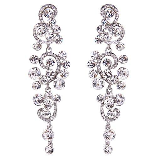 Chandelier Dance Costume (BriLove Women's Bohemian Boho Wedding Bridal Crystal Floral Chandelier Hollow Dangle Earrings Silver-Tone)