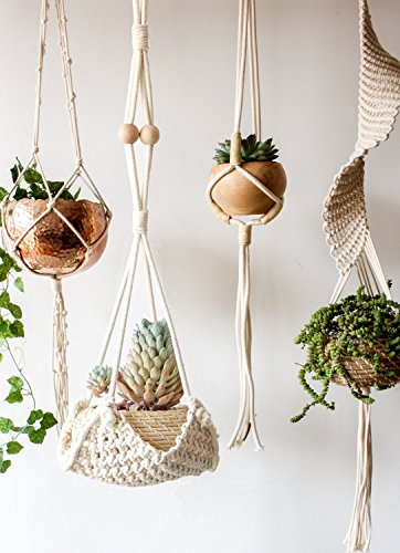 Macrame Plant Hanger Handmade Cotton Rope Wall Hangings Home Decor,30