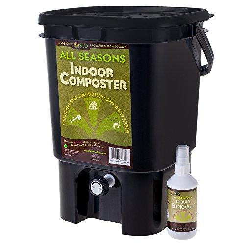 Bokashi Kitchen Composter - SCD Probiotics K201 All Seasons Indoor Composter Kit, Black Bucket/ 8oz. Liquid Bokashi