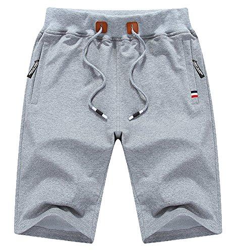 QPNGRP Mens Shorts Casual Drawstring Zipper Pockets Elastic Waist LightGray 32 Drawstring Two Pocket Shorts