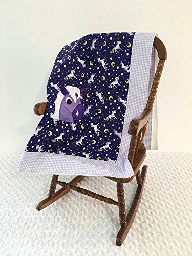 Small Purple Unicorn Applique Blanket