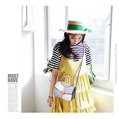 Yoome Contraste Color Flap Bolsa Arcuate Handle Mujer Bolso Messenger Crossbody Correa Bolsos Para Las Niñas - Blanco Rosado