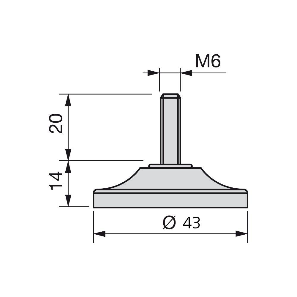 base /Ø43mm Set di 20 pezzi Emuca 2020525 Piedino regolabile a vite per mobile filettatura M6x20mm