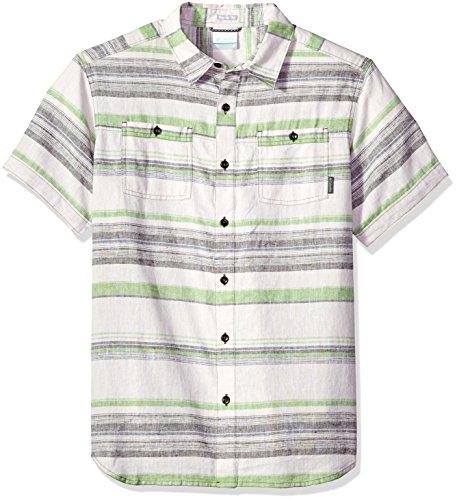 (Columbia Men's Southridge Yarn Dye Short Sleeve Shirt, Peatmoss Stripe, Medium)