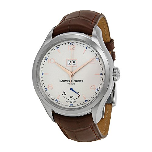 Baume-et-Mercier-Clifton-Automatic-Silver-Dial-Brown-Leather-Watch-MOA10205