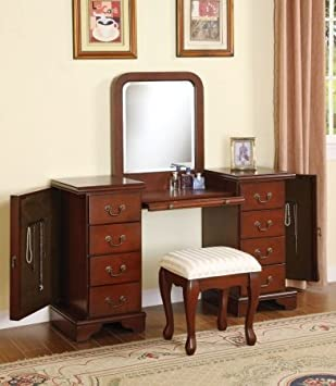 Captivating Acme 06565 Louis Philippe Cherry Vanity And Bench Set