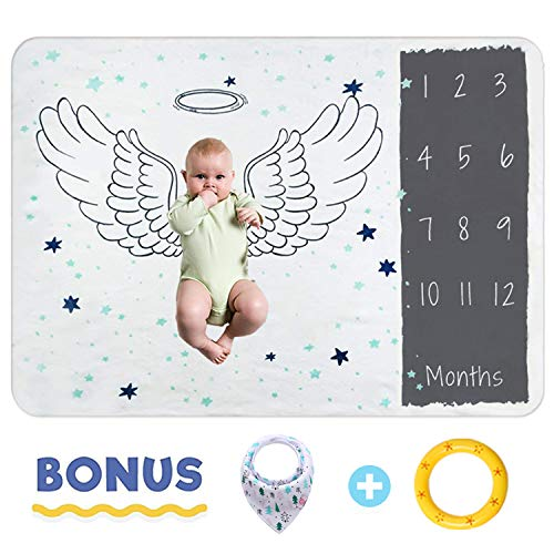 (Baby Milestone Blanket  Photography Props Backdrop for Infant Newborn Boy Girl Baby with Bibs & Frame - New Mom Infant Growth Swaddling Monthly)
