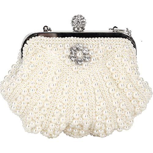 Wjp Evening Bag Femme, Mariée, Banquet, Diagonale de l'épaule, Main, Chaîne, Coquille, Perle, Mini, Jaune clair, Centimètre blanc