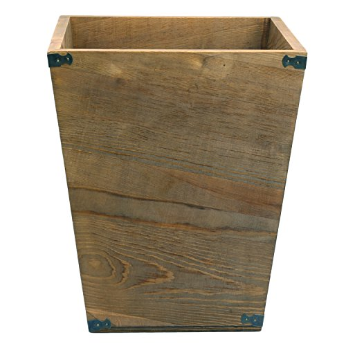 Dark Brown Torched Wood Design Waste Bin Small Decorative Trash Can For Bedroom Bathroom Office
