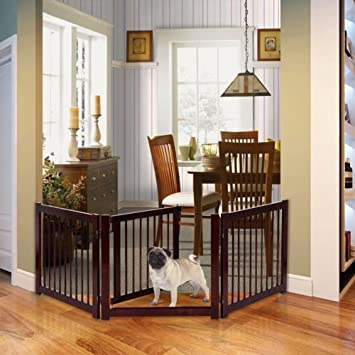 """24/"""" Configurable Folding Free Standing 4 Panel Wood Pets Fence Gate 360° Rotate"""