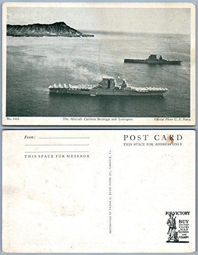 AIRCRAFT CARRIERS SARATOGA & LEXINGTON VINTAGE POSTCARD