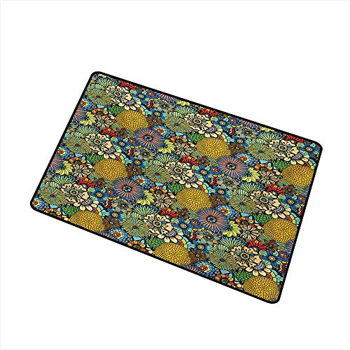Non-Slip Door mat Garden Art Whimsical Florist Pattern with Doodle Funny Plants Artistic Rich Summer Nature W24 xL35 Non-Toxic ()