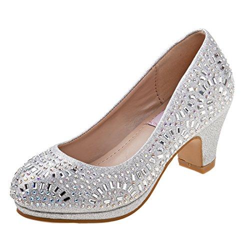 Nanette Lepore Girls Rhinestone and Glitter Platform Dress Pumps, Silver, 3 M US Big - Shoes Pageant Dress
