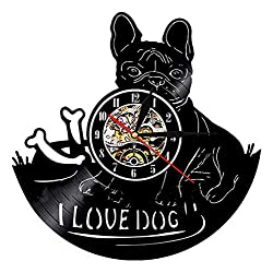 Home DCR Black Vinyl LP Cute Bulldogs 12 Diameter 7 Colors LED Light Wall Clock, Without LED Light One Size