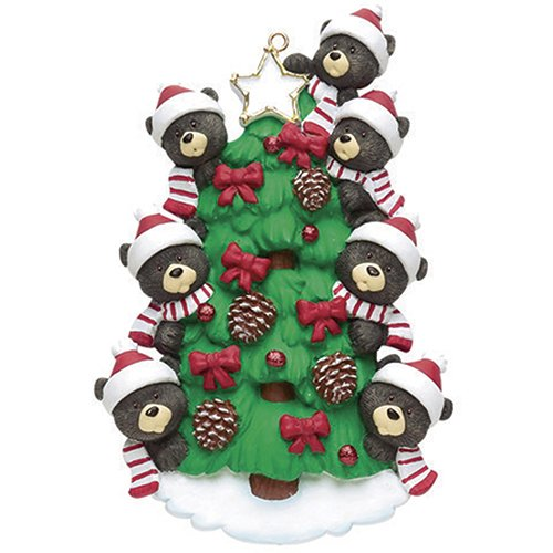 (Personalized Bear Tree Family of 7 Christmas Ornament 2018 - Cute Parents Children Friend in Santa Hat from Garnish Cone - Black Tradition Winter Eve Holiday Sibling Kid - Free Customization (Seven))