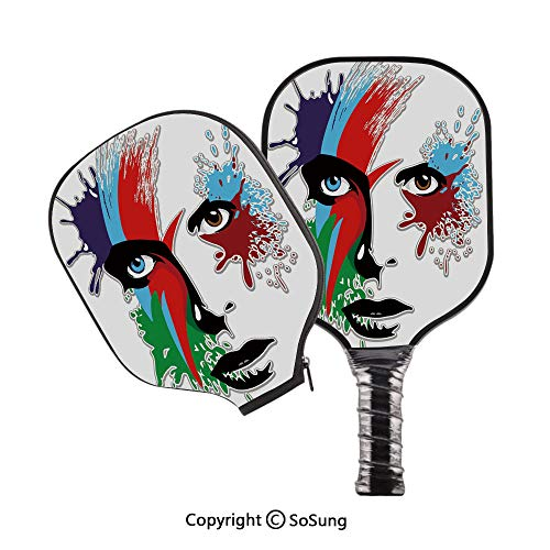 David Bowie Decor Pickleball Paddle Graphite Pickleball Racket with Cover,Bowies Eyes Ziggy Stardust Expression Inspired Artwork Colorful Splashes Pickleball Paddle Set,Multicolor (David Bowie Best Of Rar)