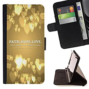 BullDog Case - FOR/HTC Desire 820 / - / FAITH HOPE LOVE /- Monedero de cuero de la PU Llevar cubierta de la caja con el ID Credit Card Slots Flip funda de cuer