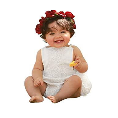 9e7b93bdacc Wesracia Newborn Cute Kids Baby Girls Clothes Sleeveless Lace Princess  Romper Jumpsuit Suit (70
