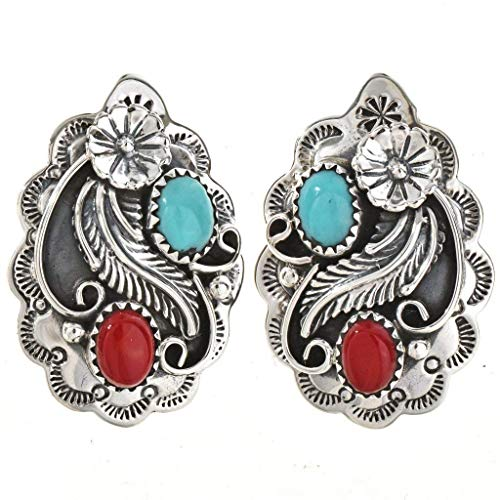 (Turquoise Coral Post Earrings Navajo Silver Studs 0596 )