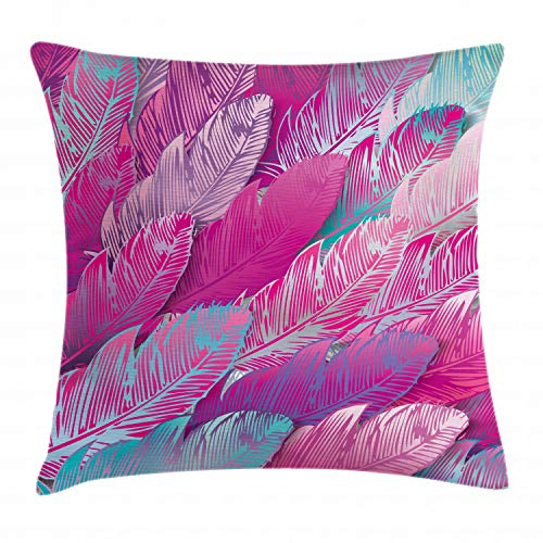 "Ambesonne Abstract Throw Pillow Cushion Cover, Vibrant Feathers Boho Pattern Repeating Vivid Tones Hippie Sixties Print, Decorative Square Accent Pillow Case, 20"" X 20"", Green Magenta"