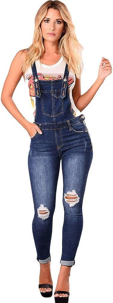 Strir Ropa Mujer Peto Elegante Casual Largo Suelto Mono Bolsillos Tirantes Fiesta Noche Oficina Pantalones Peto Vaquero Mujer Casual Largo Mono Suelto Pantalones Vaqueros Rotos Mujer Petos